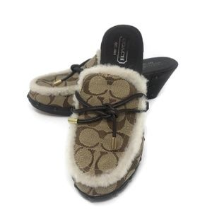 COACH Signature Canvas Shearling Wooden Clogs 7.5